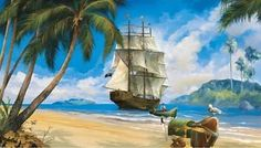New Pirate SHIP Prepasted Wallpaper Mural Pirates Room Decor Wall ...