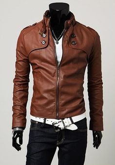 Classic Stand Collar Buttons Embellished Long Sleeves PU Leather Coat For Men, BROWN, M in Jackets & Coat   DressLily.com