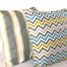 Grey Pillow Covers - TWO 18x18 inch Chevron and Striped Decorative Cushion Covers - Blue Citrine-Yellow Grey Coordinating Pair