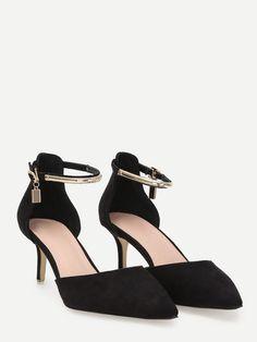 Black Faux Suede Gold Plate Strap Kitten Heels