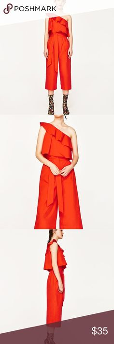 Red Zara jumpsuit NWT size xs Zara jumpsuit new never worn with tags's. Any questions please ask. Zara Pants Jumpsuits & Rompers