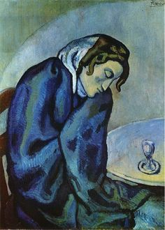 Drunk woman is tired, 1902 by Pablo Picasso, Blue Period. Pablo Picasso, Kunst Picasso, Art Picasso, Picasso Blue, Picasso Paintings, Matisse Paintings, Georges Braque, Henri Rousseau, Henri Matisse