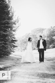 Romantic setting for couple walking on their wedding day. www.prudentephoto.com