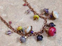 Colorful Beaded Necklace Gemstone Beads Copper by TamiLopezDesigns, $32.00