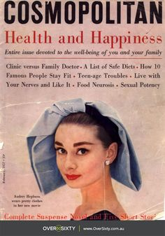 We love this vintage cover from Cosmopolitan Magazine. All about Health and Happiness - featuring the truly beautiful Audrey Hepburn.
