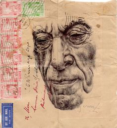 I love these portraits on vintage envelopes    Blog: A Wrinkle in Time - Doodlers Anonymous