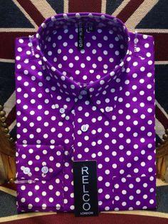 purple polka dots | Home › Clothing › Relco Purple Polka Dot Shirt