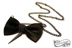 Bow Tie Necklace  Leather Gunmetal  Rocker by RockerchicBoutique, $25.00