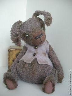 Домашний кролик Жорик - васильковый,кролик,мишки тедди,игрушка ручной работы
