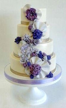 Purple fabric flowers ombre