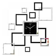 Living room new wall clock diy clocks home decoration watch horloge murale quartz acrylic mirror stickers Mirror Wall Clock, Black Wall Mirror, Diy Mirror, Wall Clocks, Mirror Tiles, Diy Clock, Clock Decor, Clock Ideas, Mirror Wall Stickers