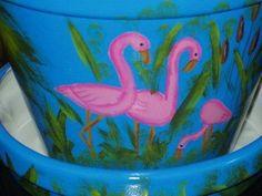 flamingo flower pots photos | Large Ceramic Flower Pot with Saucer Hand Painted Flamingo's ...