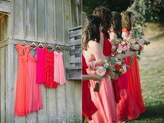 Red Bridesmaids dresses - Romantic Pescadero Wedding of Anna and Tim