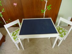 Ikea hacked Latt table for kids. Upholstered chairs with fabric and homemade chalkboard paint on table surface.