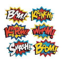 """Cardboard Jumbo Superhero Word Cutouts (size: 26"""" x 18"""") - 6 pcs by Party Supplies (1 Pack)"""