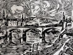 Maurice de Vlaminck, The Bridge at Chatou, 1910, Woodcut, 20.75 x 27.25