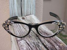 Schiaparelli Ivy Vine Design Cats Eye Eyeglasses - circa 1950's/60's