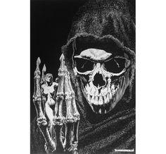 By John Bolton, maiden death grim reaper Father Time scythe maid girl woman dance danse macabre skull skeleton