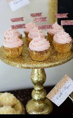 Glitter party by Sweet Details.glittered DIY cake stand, glittered cupcake flags in gold wrappers Cupcakes Roses, Gold Cupcakes, Cupcake Cakes, Cupcake Flags, Cupcake Wrappers, Rosette Cupcakes, Cup Cakes, 1st Birthday Parties, Girl Birthday