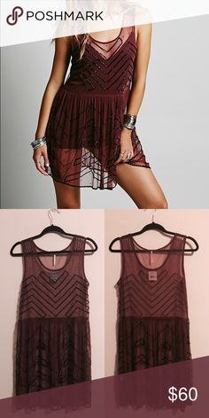 FREE PEOPLE Mesh Embellished Slip- Plum New with tags, very few missing beads. Free People Dresses