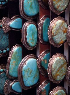 Native American concho belts with large turquoise stones - photo by Sharon Sperry Blom on Flickr - via Stephanie Nabors - #CowgirlChic