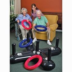 Jumbo Inflatable Ring Toss. This is a great exercise for standing balance activities. It can be done with or without a walker. It can be graded easily up and down for different things. Great idea and fun to work with.