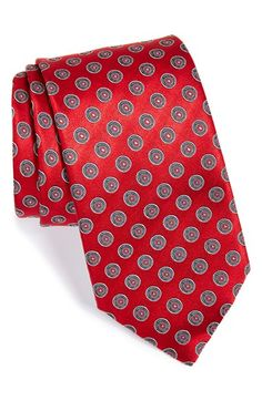 Free shipping and returns on Ermenegildo Zegna Geometric Silk Tie at Nordstrom.com. Woven geometric medallions add a timeless touch of class to a handsome Italian tie crafted in pure silk.<br><br>Founded in northern Italy in 1910, Ermenegildo Zegna began as a woolen mill, which soon became known for producing beautiful, high-quality textiles—identified then and now by a signature red seal. The company's expertise in quality materials persists to this day and can be found in every product ... Tie Crafts, All Tied Up, Designer Ties, Woolen Mills, Elegant Man, Paisley Dress, Silk Ties, Floral Tie, Dots