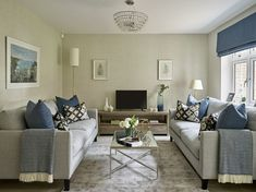 Living Room from a classic contemporary interior in Sussex. The full design and turn-key installation of a three-bedroom show home based in Sussex.A contemporary colour palette of grey tones was used throughout. Interior Design Gallery, Horsham, Sofa, Couch, New Builds, Contemporary Interior, Luxury, Bedroom, Building
