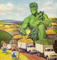 The Jolly Green Giant advertising Niblets Sweetcorn.