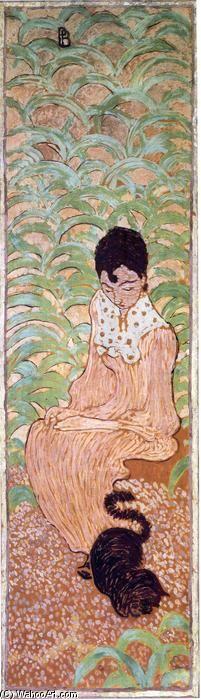 """""""Assis Femme avec un chat"""", huile sur toile de Pierre Bonnard (1867-1947, France)"""