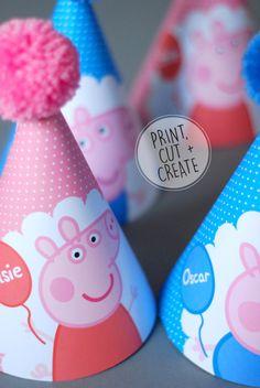 PRINTABLE Digital Peppa Pig George Pig Personalised Childrens Birthday Party Hat Pink Blue by OrangePaperDuck on Etsy https://www.etsy.com/listing/385926546/printable-digital-peppa-pig-george-pig