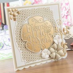 #Handmade #card made using the #TonicStudios Entwining Trellis Plush Peony Die Set! Available to buy here - http://www.createandcraft.tv/SearchGridView.aspx?fh_location=//CreateAndCraft/en_GB/$s=tonic%20entwining&gs=tonic%20entwining #papercraft #craft #cardmaking