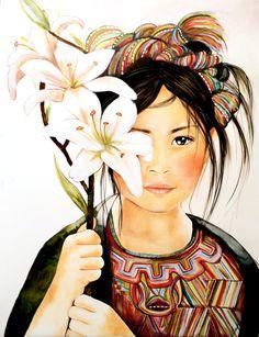 2 imprime fleurs dans ses cheveux et la fille par claudiatremblay