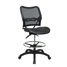 Deluxe AirGrid Back Ergonomic Drafting Chair in Black