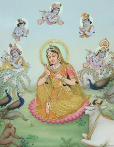 """#Mirabai Dreaming of Krishna by B.G. Sharma.  #Mirabai was a famous and much-loved saint who was a devotee of Krishna, as was the artist himself. Natural pigments on paper, 11 1/2"""" x 14 1/4"""", including border (not shown)."""