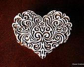 Hand Carved Indian Wood Textile Stamp Block- Spirals Heart