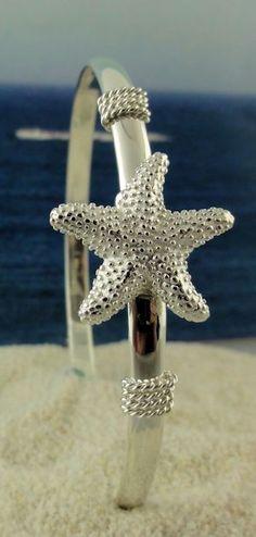 Sterling Silver Starfish Bangle Bracelet #thecrystalpineapple