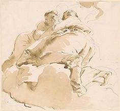 Giovanni Battista Tiepolo | Two Female Figures on Clouds, One Kneeling and Looking Up | Drawings Online | The Morgan Library & Museum