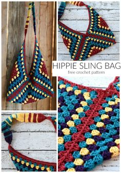The Hippie Sling Crochet Bag Pattern is my new favorite thing! It's such a fun shape, the colors are bright, and it's easy! So many different color combinations would be super cute for this bag. I wrote the pattern for 4 colors, but you can easily make this pattern your own!