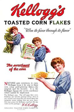 Kellogg's Corn Flakes, featuring the sweetheart of corn!  Vintage Edwardian breakfast cereal ad