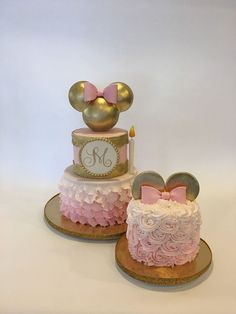 1st Birthday Gold and Pink Minnie Cake and Smash Cake