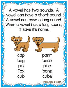 8 hands-on activities for teaching long and short vowel sounds. Free downloadable poster.