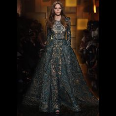 Deep green mosaic embroidered gown at yesterday's ELIE SAAB Haute Couture Autumn Winter fashion show. #ShadesOfGold
