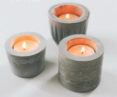 DIY Laced Cement Candle Holder,  I love the idea of the soft lace incased in hard cement... itll match my new floors!