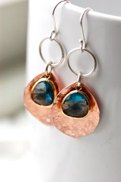 Unique Handcrafted Copper Earrings - Metalwork - Sapphire Color  $38 on Etsy