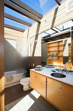 Some Ideas to Make Your Bathroom Brighter Naturally with Adding Skylight  #Skylight #Bathroom #SkylightBathroom