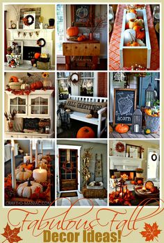 Fabulous Fall Decor Ideas along with link to burlap pillows Harvest Decorations, Thanksgiving Decorations, Seasonal Decor, Holiday Decor, Thanksgiving Table, Fall Home Decor, Autumn Home, Fall Crafts, Decor Crafts