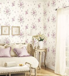 living room with floral wallcovering in purple