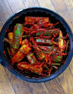 Make Kimchi at home in less than 15 MINUTES with this Spicy Cucumber Kimchi Recipe! Bright red, lip numbing, savory, pungent kimchi that's so good! Cucumber Recipes, Spicy Recipes, Asian Recipes, Cooking Recipes, Healthy Recipes, Ethnic Recipes, Healthy Food, Asian Foods, Salads