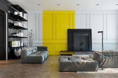 Say Yes to Yellow: 4 Apartments That Flaunt Yellow Accents - Home & Interior Apartment Interior Design, Home Interior, Modern Interior, Interior Decorating, Appartement Design, Mould Design, Yellow Interior, Cool Apartments, Living Room Grey